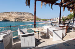 Libyan sea and the coast near Matala on the Crete island, Greece. Royalty Free Stock Photography