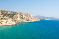 Libyan sea and coast next to Matala beach on the Crete island, Greece. Royalty Free Stock Photo