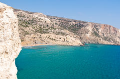 Libyan sea and the coast of the red beach near Matala beach on the Crete island, Greece. Royalty Free Stock Photos
