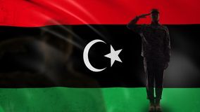 Libyan soldier silhouette saluting against national flag, military occupation. Stock footage stock video footage