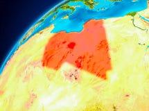 Libyen auf Erde vom Raum Lizenzfreies Stockbild