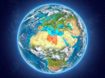 Libyen auf Planet Erde im Raum Lizenzfreie Stockbilder