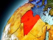 Libyen från omlopp av modellen Earth Arkivfoto