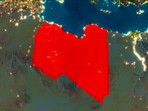 Libyen im Rot nachts Lizenzfreies Stockbild