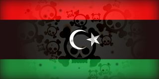 Libyen-Markierungsfahnen-Krieg-Schädel-Krise Stockfoto
