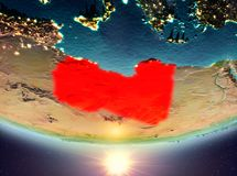 Libyen mit Sonne Stockfotos