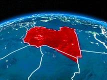 Libyen vom Raum nachts Stockbilder