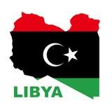 Libysche Republikmarkierungsfahne auf Karte Stockfotografie