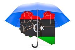 Libysk översikt under paraplyet Säkerhet och skyddar, eller försäkring lurar Fotografering för Bildbyråer
