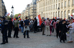 Libysk demonstration i Paris Arkivfoto
