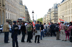 Libysk demonstration i Paris Royaltyfri Fotografi