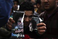 libysk protest för ambassad Royaltyfri Foto