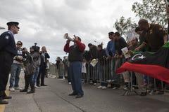libysk protest för ambassad royaltyfri bild