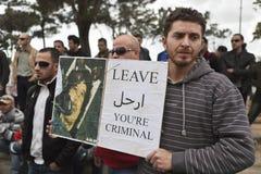 libysk protest för ambassad arkivfoto