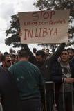 libysk protest för ambassad royaltyfria bilder