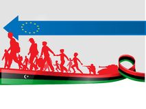Libyskt folk för invandring till Europa royaltyfri illustrationer