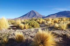 Licancabur et Juriques dans le désert d'Atacama, Chili Images stock