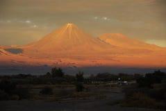 Licancabur volcano. At sunset from San Pedro de Atacama, Chile Royalty Free Stock Images