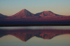 Licancabur volcano and lagoon in chile Royalty Free Stock Image