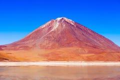 Licancabur volcano. And Laguna Verde (Green Lake) in Altiplano, Bolivia Stock Photography