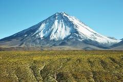 Licancabur volcano. Snow-covered Licancabur volcano viewed from Paso de Jama, Chile Royalty Free Stock Photography