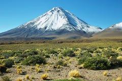 Licancabur volcano. Snow-covered Licancabur volcano viewed from Paso de Jama, Chile Royalty Free Stock Images