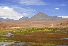 Licancabur vulkan och vulkaniskt landskap av den Atacama öknen Arkivfoton