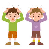 Lice and boys Stock Images