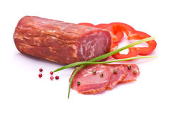 Liced Sausage, Bell Pepper, Pepper and Chives Royalty Free Stock Photography