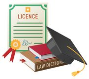 Licence with Stamp, Books Pile and Academic Hat Stock Photo