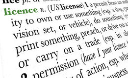 Licence word dictionary term. Licence word dictionary definition in great perspective Stock Photos