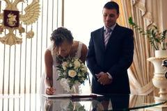 Licencia de boda Imágenes de archivo libres de regalías