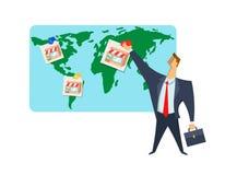 Licencia, red comercial, ejemplo del vector del concepto El hombre de negocios pone imágenes de la tienda en el mapa del mundo Es Foto de archivo