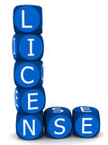 License. Word in blue word blocks against a white background, in shape of starting letter L, concept of validation of an activity or holding of an asset Stock Photos