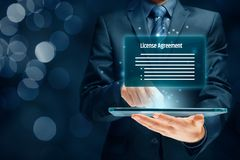 License agreement. Concept. User confirm  on digital tablet royalty free stock images