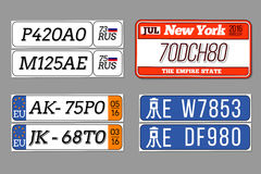 License car number plates vector set. USA. License car number plates set. USA, European Union, China, Russia. Design transportation abbreviation for auto. Vector vector illustration