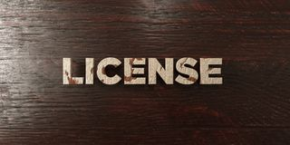 License - grungy wooden headline on Maple  - 3D rendered royalty free stock image Stock Photo