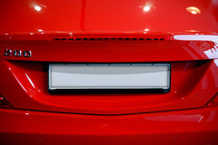 License plate. Blank licence plate on a red mercedez Stock Images
