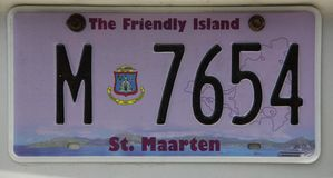 License Plate. A License Plate of the Caribbean island of St. Maarten Stock Photos