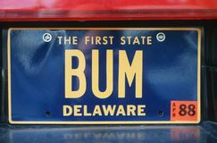 License Plate  in Delaware Stock Photo