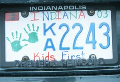 License Plate  in  Indiana Stock Image
