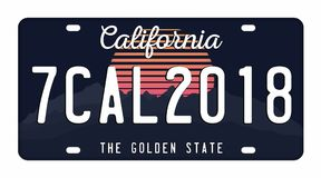 License plate isolated on white background. California license plate with numbers and letters. Badge for t-shirt graphic Royalty Free Stock Photos