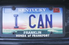 License Plate  in Kentucky Royalty Free Stock Images