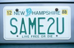 License Plate  in  New Hampshire Royalty Free Stock Photos
