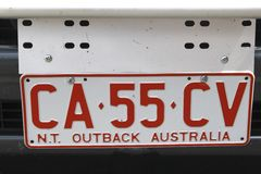 License plate of Northern Territory,Outback Australia Royalty Free Stock Photos
