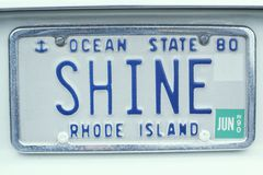 License Plate  in  Rhode Island Royalty Free Stock Photo