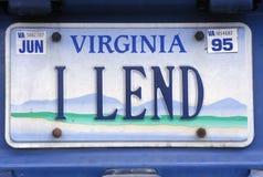 License Plate  in  Virginia Stock Image