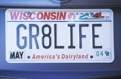 License Plate   in  Wisconsin Royalty Free Stock Photo