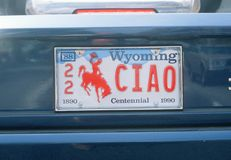 License Plate  in Wyoming Royalty Free Stock Photos