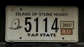 License Plate. The License Plate of Yap Island, Federate States of Micronesia Stock Photography